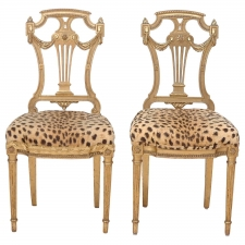 Pair of Gilded Ball Room Chairs, circa 1920