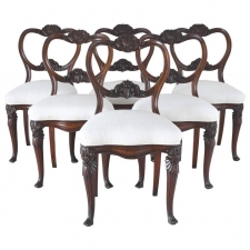 Set of Six Louis Philippe Dining Chairs with Carved Balloon-Back & Upholstered Seat, Belgium, circa 1835