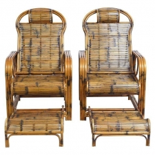 Pair of Bamboo Lounge Chairs with Sliding Foot Rests, French Indochina, c. 1920