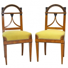 Pair of German Neoclassical Empire Cherry Wood Side Chairs, circa 1815