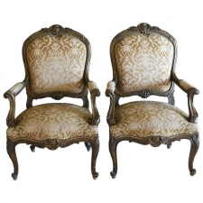 Pair of 19th Century French Fauteuils in the Louis XV Style