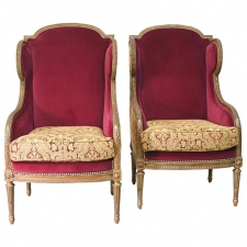 Pair Of French Louis XVI Style Bergères Or Wingback Chairs, Circa 1860