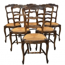 Set of 6 Provincial French Ladder Back Chairs, in Walnut Finish, circa 1900-1920