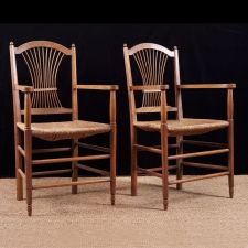 Pair of French Fan-Back Armchairs in Oak with Rush Seats