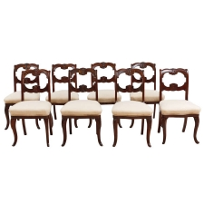 Set of Eight Antique American Dining Chairs in Mahogany, c.1845