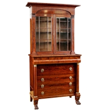 American Classical Empire Secretary Bookcase in Mahogany Attributable to John Meads, c. 1825