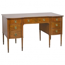 English Edwardian Kneehole Desk in Satinwood with Inlays & Swag Decorations, c. 1900