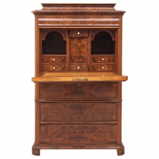 Biedermeier Fall-Front Secretary in Figured and Burled Walnut