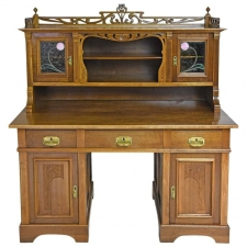 Art Nouveau Desk with Bookcase in Walnut with Stained Glass, circa 1900