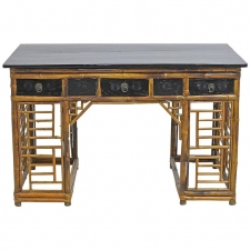 A Bamboo Chinese Pedestal Desk with Ebonized Top & Drawers, circa 1930
