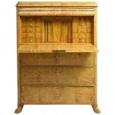 Antique Biedermeier or Swedish Empire Fall-Front Secretary in Birch, circa 1830