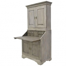 18th Century Grey-Painted Swedish Gustavian Fall-Front Secretary with Bookcase