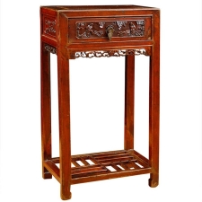 Qing Table in Elm with Original Cinnabar Lacquer, China, c. 1790