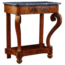 Charles X Console Table in Cuban Mahogany with Satinwood Inlays, c. 1830
