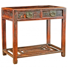 Chinese Table in Elm with Original Cinnabar Lacquer, circa 1790