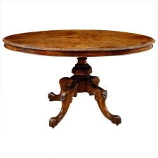 English Tilt-Top Center Pedestal Table in Walnut & Burl Walnut , c.1840