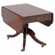 American Federal Drop-Leaf Breakfast Table in Mahogany with Saber Legs