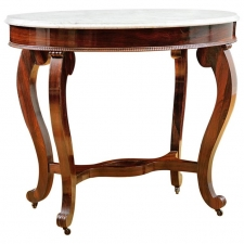 Side Table in Rosewood with White Marble, attributable to Meeks & Sons, NY, c. 1850