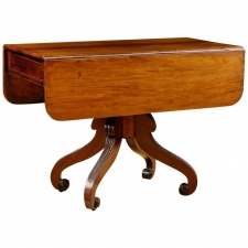 Antique English Side Table in Mahogany with Drop Leaves on Center Pedestal, c. 1800