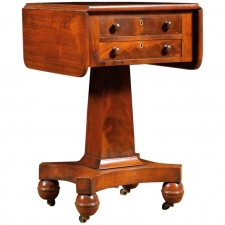 Antique American Empire Side Table with Pedestal Base in Mahogany c. 1840