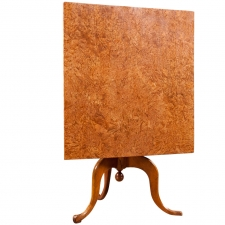 Antique  Swedish Square Tilt-Top Center Table in Birch & Burl Birch, c. 1790