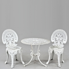 Pair of Cast Garden Chairs and Table