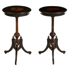 Pair of Small Round French Napoleon III Ebonized Tables with Marquetry, c. 1870