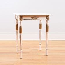 Painted Antique Side Table with Carved and Fluted Legs