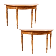 Pair of Antique Demi-lune Swedish Tables in Pine, c. 1815