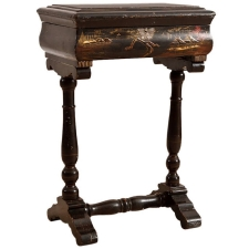 Chinoiserie Table with Polychrome Landscape Scenes Over Ebonized Wood, c. 1840