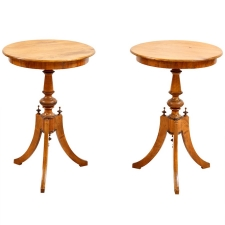 Pair of Round Tripod Side Tables in Birch with Ebonized Details, Sweden, c. 1870