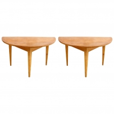 Pair of Swedish Demi-Lune Tables with Faux Bois Finish, c. 1790