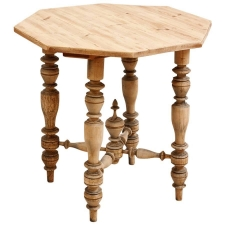 Octagonal Farm Table with Turned Legs and Pine Top