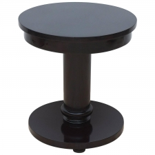 Custom Art Deco Round Table with Ebonized Finish