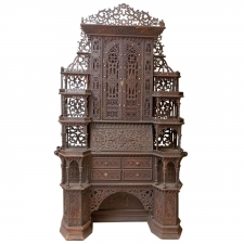 Antique Fretwork Folk Art Eterger or Étagère with Dressing Table