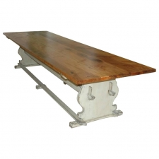 Custom Gustavian Style Farm Dining Table with Painted Trestle Base & Maple Top