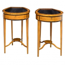 Pair of Edwardian Satinwood, Parcel-Ebonized Vitrine Tables, circa 1900