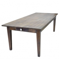 8' Farmhouse Dining Table in Repurposed White Oak with Fumed-Taupe Finish