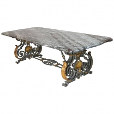 Rococo Style Marble-Top Dining Table with Wrought Iron Base, circa 1950